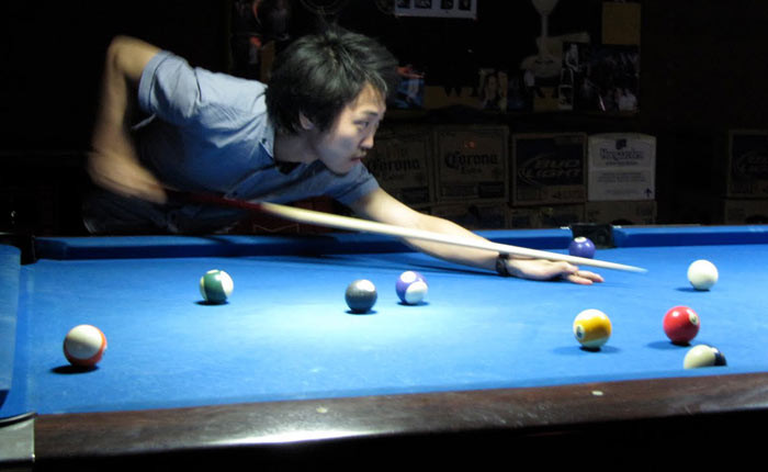 A Good Billiards Pool Player Start By Staying Down On The Shot